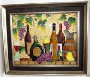 Hand Crafted Ceramic Art Tile Vineyard Golden Frame